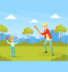 Father playing baseball with his son in city park vector