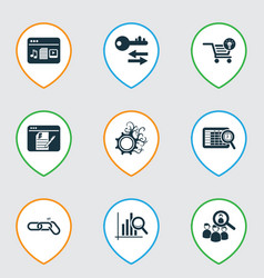 Finance icons set with blogging ecommerce vector