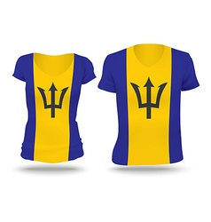 Flag shirt design of Barbados vector