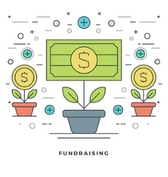 Flat line Fundraising and Financial Growth Concept vector
