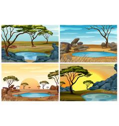 Four scenes savanna field with waterhole vector