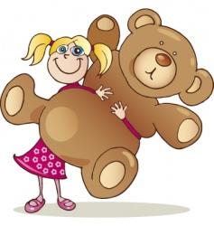 Girl with teddy bear vector