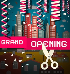 Grand Opening with Confetti and Scissors on vector