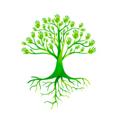 Green hand tree for nature help group vector