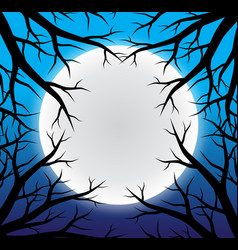 halloween background full moon vector image