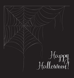 halloween monochrome spider web and spiders vector image