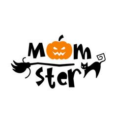 halloween typography logo design with quote vector image