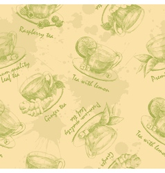 Hand drawn cup of green tea seamless vector