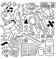 Hand drawn set school icons ornaments vector