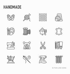 handmade thin line icons set vector image