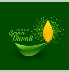 Happy green diwali celebration with eco friendly vector