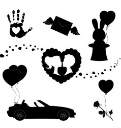 Happy valentines day black icons silhouette set vector
