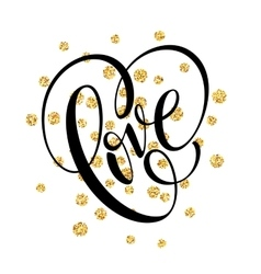 Happy Valentines Day hand lettering with golden vector