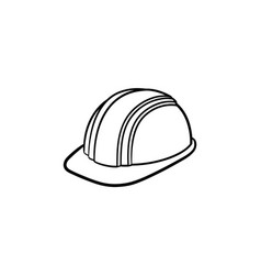 Hard hat hand drawn sketch icon vector