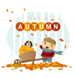 Hello autumn background with little boy 3 vector image