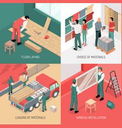 Isometric renovation design concept vector