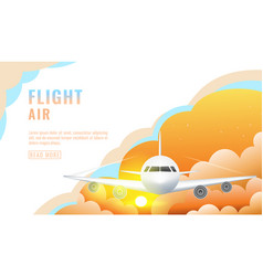 landing page design banner with flying airliner vector image