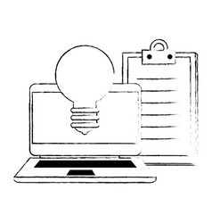 Laptop with bulb light and checklist vector