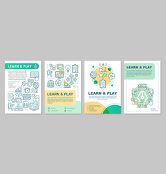 Learn and play design brochure layout children vector