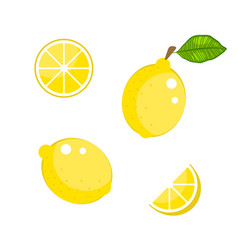 lemon with green leaves and slices isolated on vector image