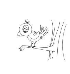 Line drawing bird on tree for kids painting art vector