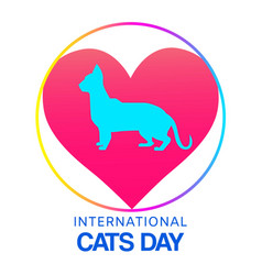 love cats domestic pets symbol with cat sihouette vector image