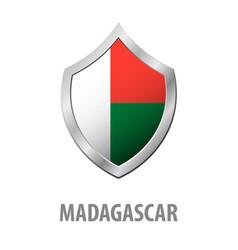 Madagascar flag on metal shiny shield vector