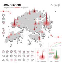 Map hong kong epidemic and quarantine emergency vector