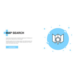 map search icon banner outline template concept vector image