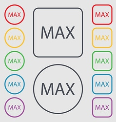 maximum sign icon Symbols on the Round and square vector image