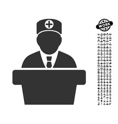 Medical official lecture icon with men bonus vector