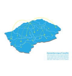 Modern of lesotho map connections network design vector
