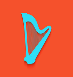 musical instrument harp sign whitish icon vector image