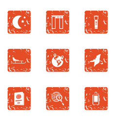 Nature stead icons set grunge style vector