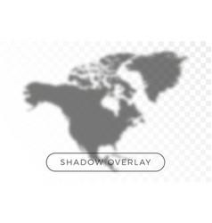 north america world map shadow realistic grey vector image
