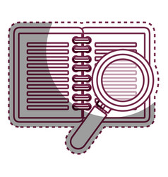 Notebook school with magnifying glass supply icon vector