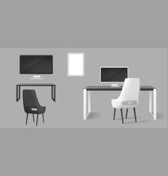 office furniture desk chairs and monitors vector image