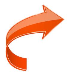 Orange bent arrow 3d sign vector