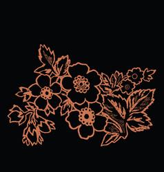 orange flower on a black background vector image