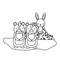 outline nice bear couple with rabbit in bush vector image