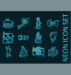 party set icons blue glowing neon style vector image