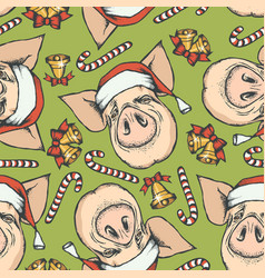 Pig christmas seamless pattern vector