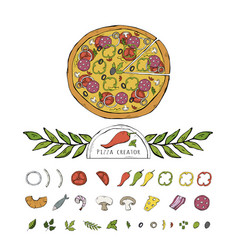 pizza setcollection isolated on a white vector image