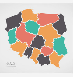 Poland map with states and modern round shapes vector