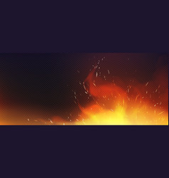 realistic fire with sparkles and smoke vector image