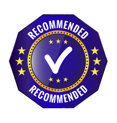 Recommended blue badge vector
