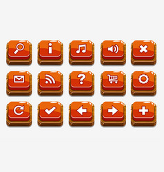 red wood buttons with different menu elements vector image