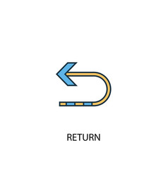 Return concept 2 colored line icon simple yellow vector