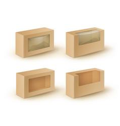 set brown blank cardboard rectangle take vector image