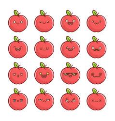 Set fun kawaii red apple fruit icon cartoons vector